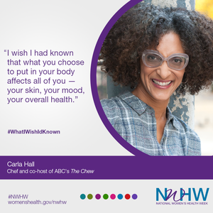 National Women's Health Week infographic featuring Carla Hall