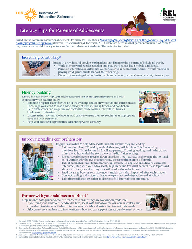 Literacy Tips for Parents of Adolescents