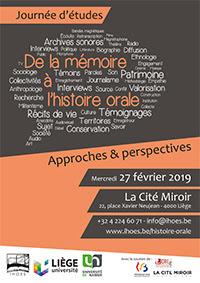 De la mémoire à l'histoire orale - journée d'études - 27 février 2019