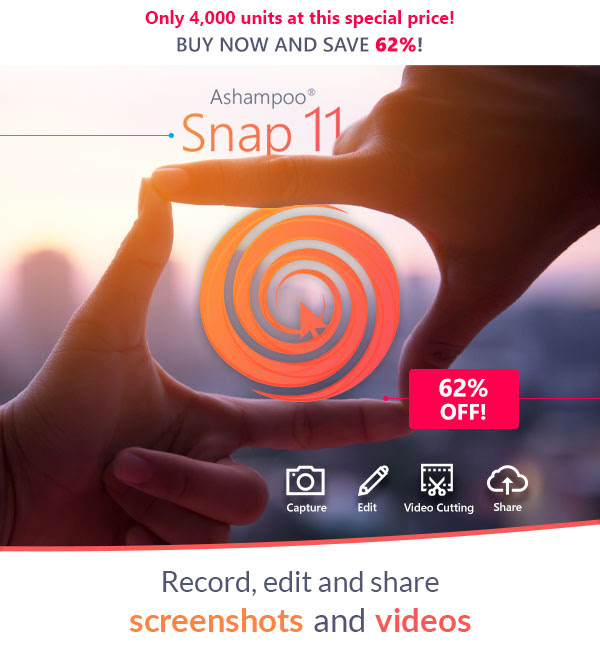 Ashampoo Snap 11 license with a 62% discount coupon.