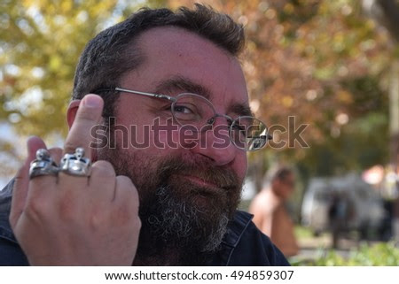 Marseille, France - October 06, 2016 : French cartoonist Gabriel de Dieuleveult alias Gab at the 5th edition of the International festival of press and political cartoons at l'Estaque.