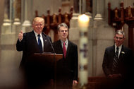 Donald J. Trump, the Republican presidential nominee, spoke on Saturday at the funeral service for the conservative activist Phyllis Schlafly.