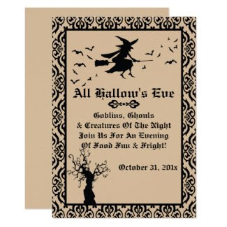 Witchy Damask Halloween Invitations