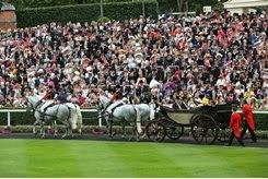 ROYAL PROCESSION: Queen Elizabeth II arrives via Landau carriage at Royal Ascot