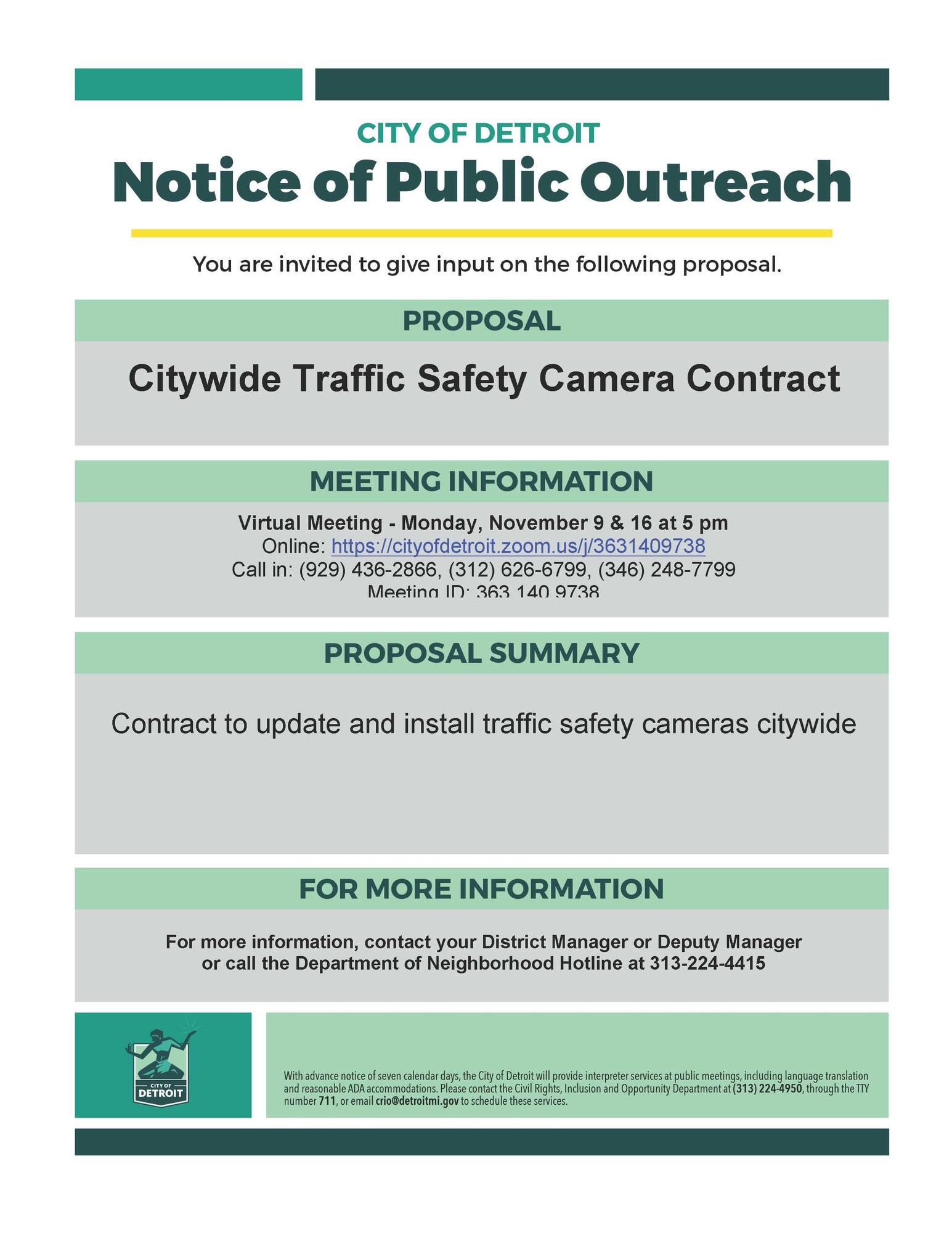 Public Meeting Notice - Traffic Safety Cameras