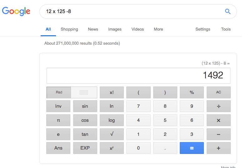 Google Search Calculator
