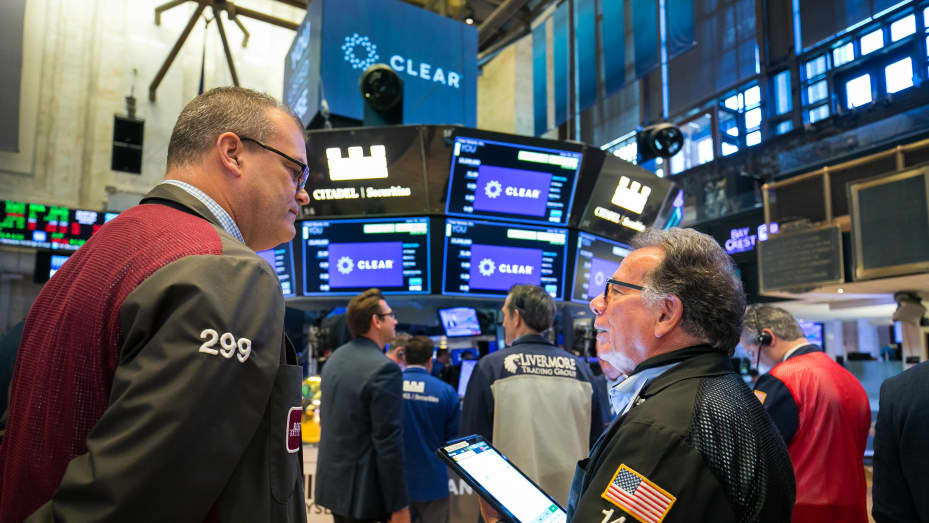 Traders on the floor of the NYSE