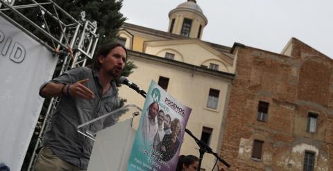 El secretario general de Podemos, Pablo Iglesias, durante el mitin.- JAIRO VARGAS