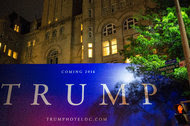 A sign outside the Trump International Hotel, Washington D.C. which is set to open next week.