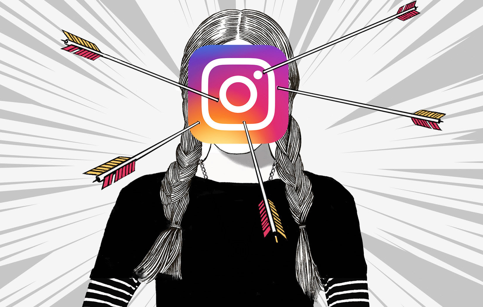 Image of illustration of child with Instagram logo on face with arrows sticking in the logo