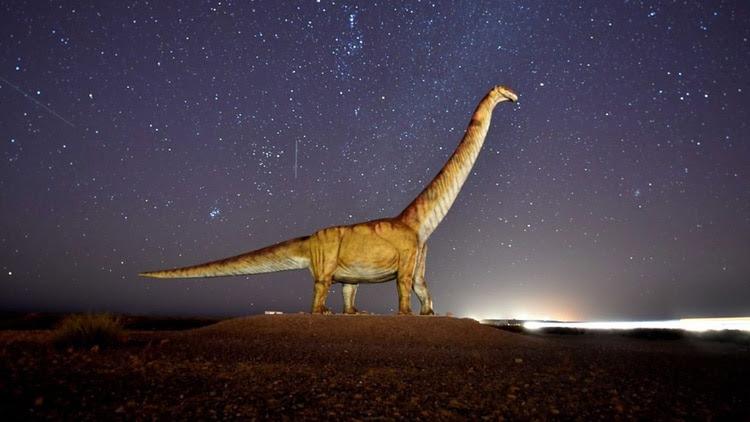 En el acceso norte a Trelew hay una copia en tamaño real del Patagotitan (foto: Daniel Feldman).