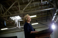 """Hillary Clinton at a campaign event in Cleveland this month. A """"super PAC"""" backing her plans to spend $147 million across eight states, including Ohio."""