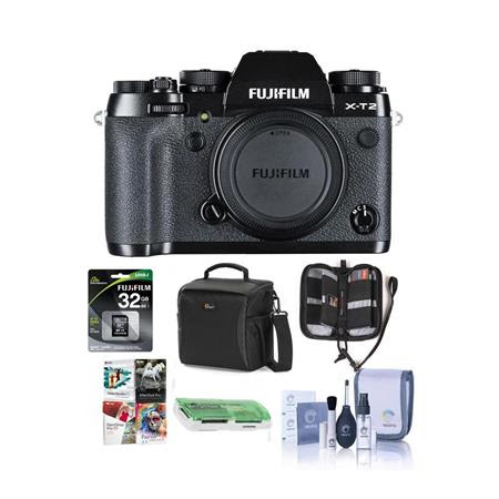 X-T2 Mirrorless Camera Body, Black - Bundle With Camera Bag, 32GB SDHC U3 Card, Cleaning K