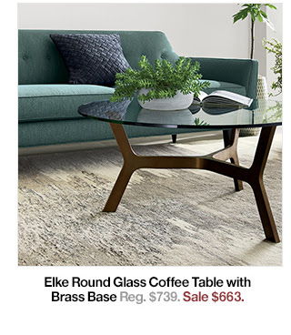 Elke Round Glass Coffee Table with Brass