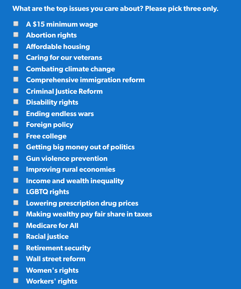 What are the top issues you care about? Please pick three.