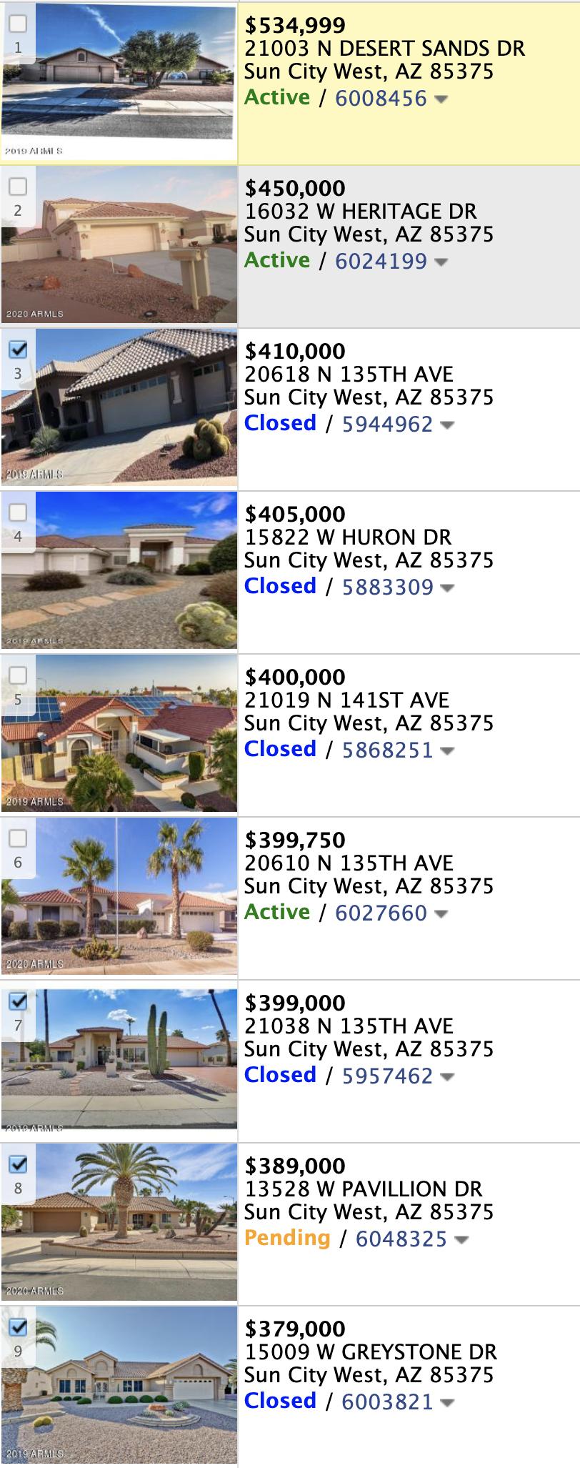 14313 W Circle Ridge Dr, Sun City West AZ 85375 Comps