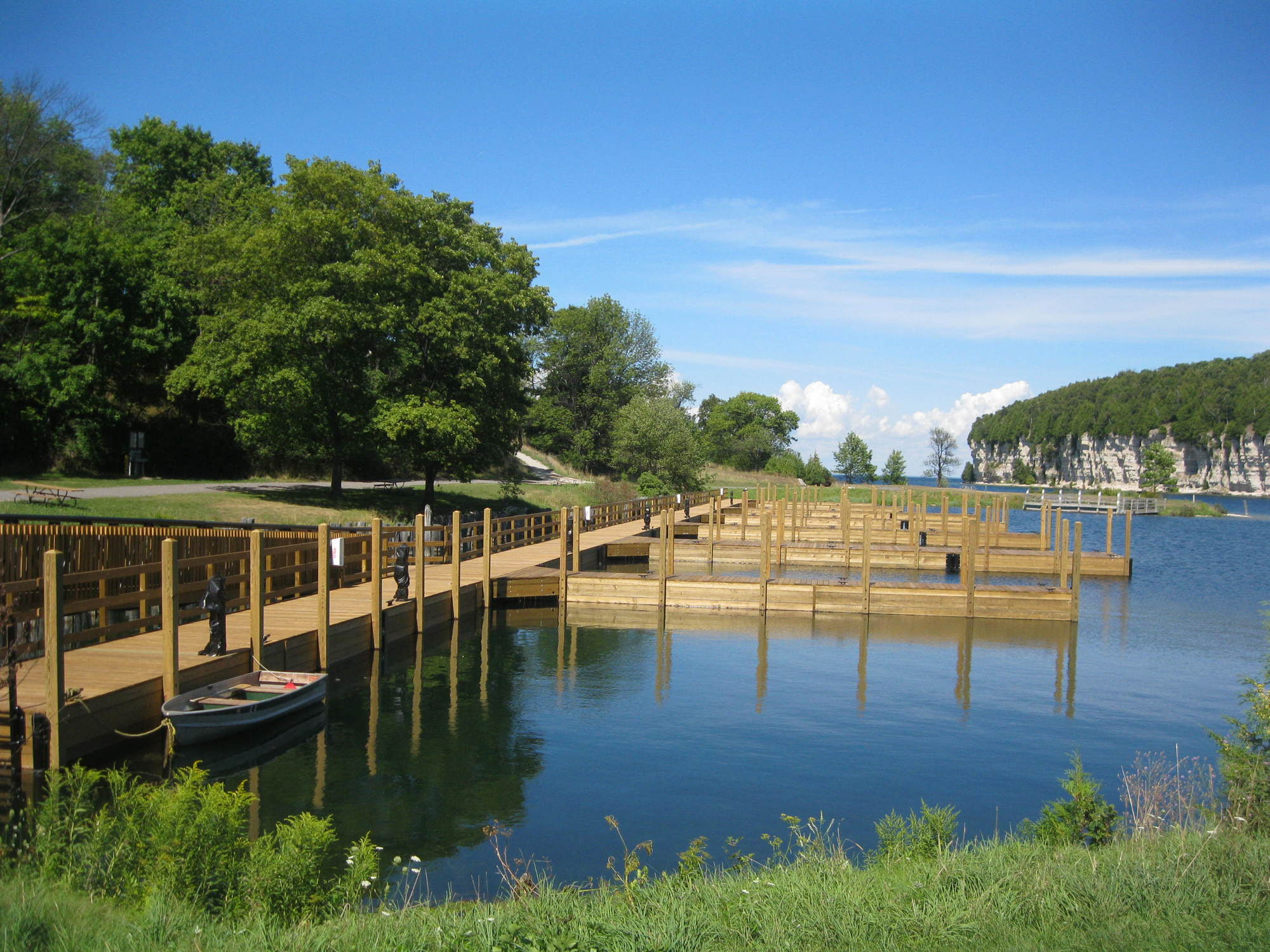 The Michigan Department of Natural Resources has completed replacement of the Snail Shell Harbor dock at Fayette Historic State Park in Delta County.