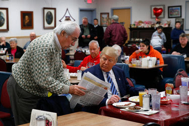 Donald J. Trump in February at Tommy's Country Ham House, a diner in Greenville, S.C. In an era of gourmet dining and obsession with healthy ingredients, Mr. Trump is a throwback to an earlier, more carefree time in American eating.