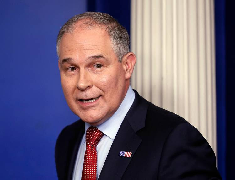 EPA Administrator Scott Pruitt looks back after speaking to the media during the White House daily briefing. (Pablo Martinez Monsivais/AP)
