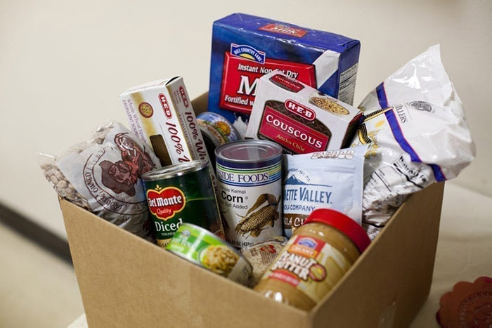 A box of food donations
