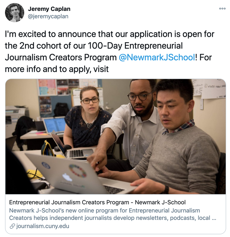 A screenshot of a tweet from Jeremy Caplan announcing the opening of the next application