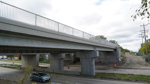 Louisiana Avenue: freight and regional bridges structures are nearly complete, with minor details remaining.