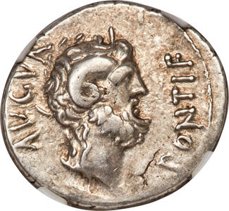 L. Pinarius Scarpus, as Imperator (ca. 31 BC), with Octavian, as Imperator. AR denarius (20mm, 3.59 gm, 11h). NGC XF★ 5/5 - 4/5
