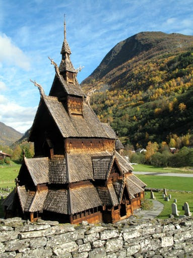 The                                                           triple nave                                                           Borgund Stave                                                           Church, the                                                           best preserved                                                           of Norway's 28                                                           such churches,                                                           dates back to                                                           1180 when it                                                           was built in                                                             honor of the                                                           Apostle                                                           Andrew.