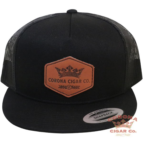 Image of Corona Cigar Co. Leather Patch Trucker Hat - Black
