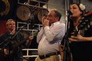 At a campaign stop in Asheville, N.C., Tim Kaine, the Democratic vice-presidential candidate, played the harmonica and sang with a pair of musicians.