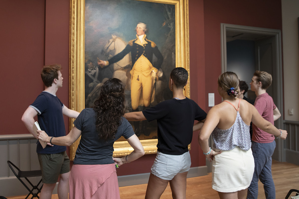 Students in the American Paintings galleries