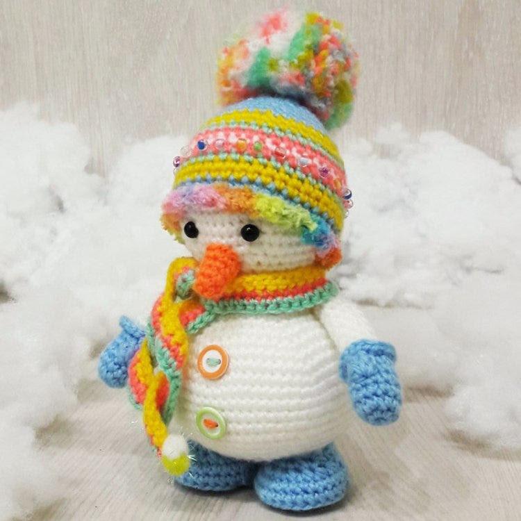 bonhomme de neige Crochet motif amigurumi - PDF imprimable