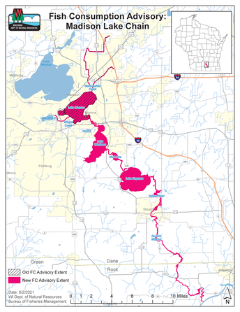 Map of fish consumption for Madison Lake Chain