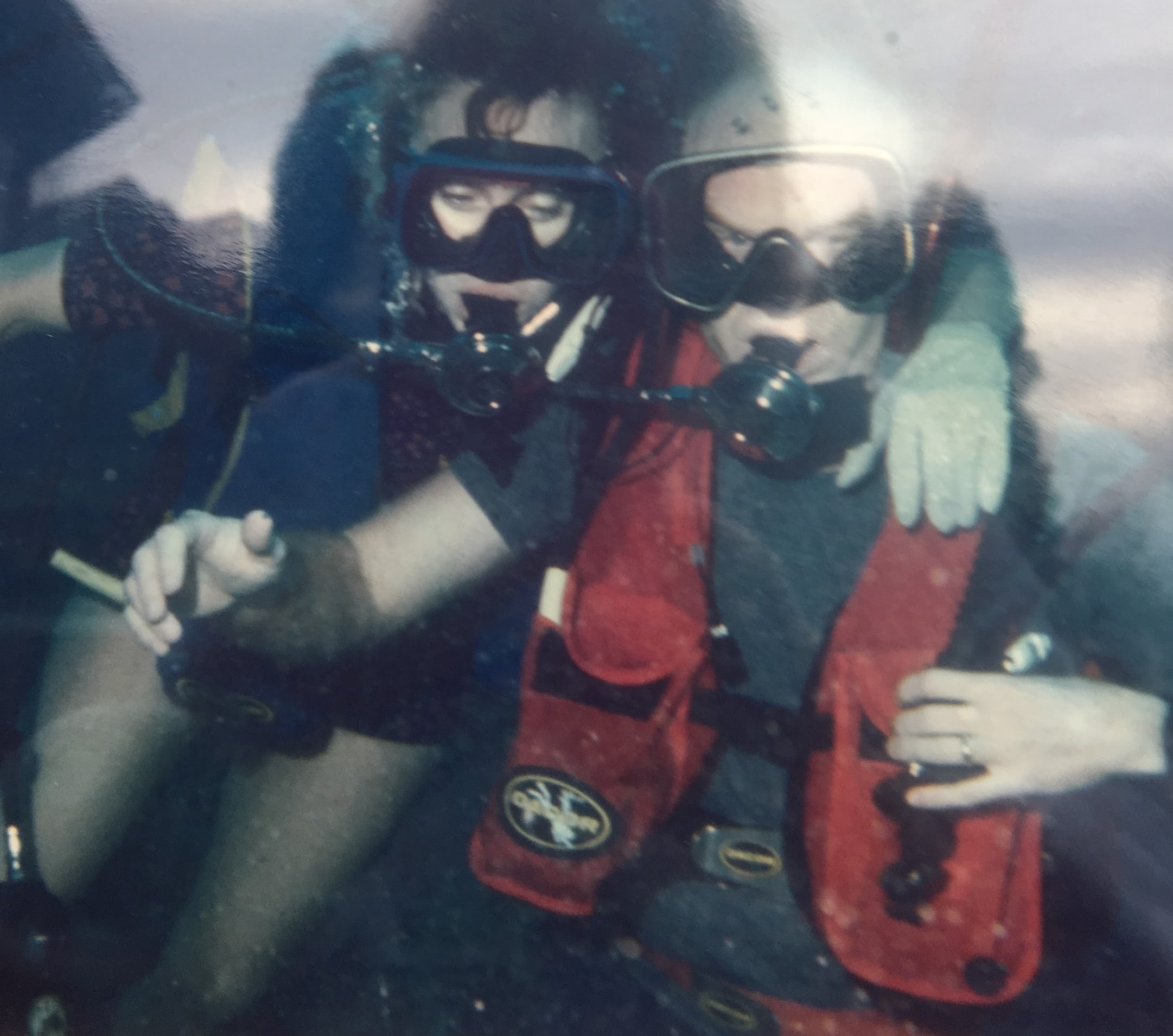 My mom and dad scuba diving