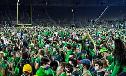 Notre Dame students rush field after Irish stun No 1 Clemson in double overtime