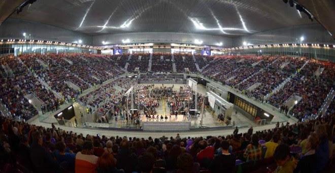 Imagen del Mitin de Podemos celebrado en la Caja Mágica de Madrid. Foto: Dani Gago, Podemos.