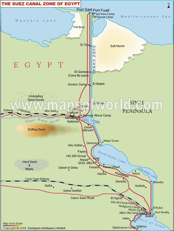 Suez Canal Map | Suez, Map, Egypt map