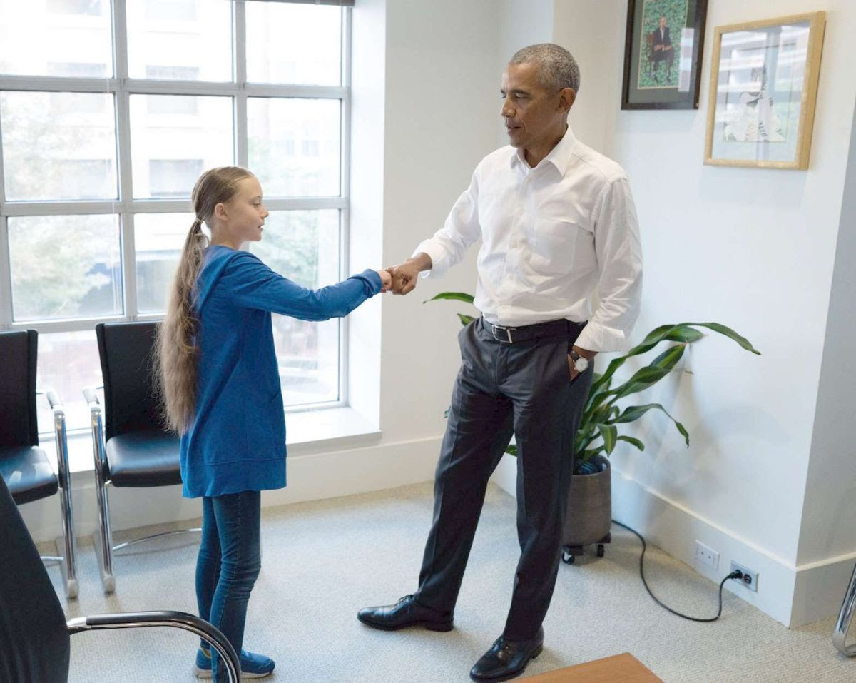Obama with thunberg