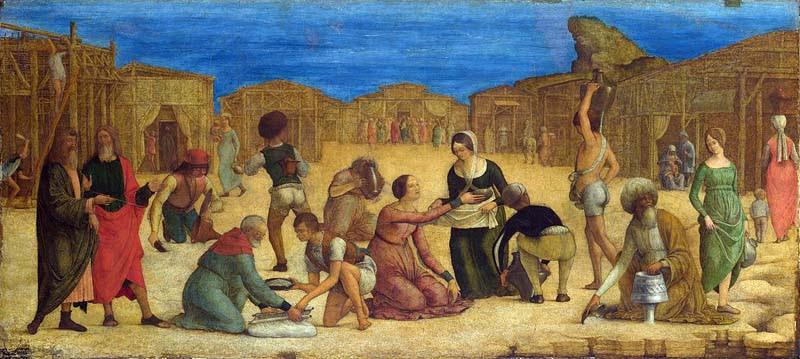 Ercole de' Roberti - The Israelites gathering Manna