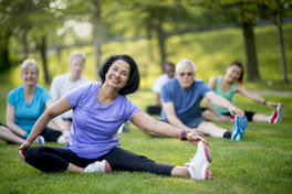 Older Adults Stretching Outside