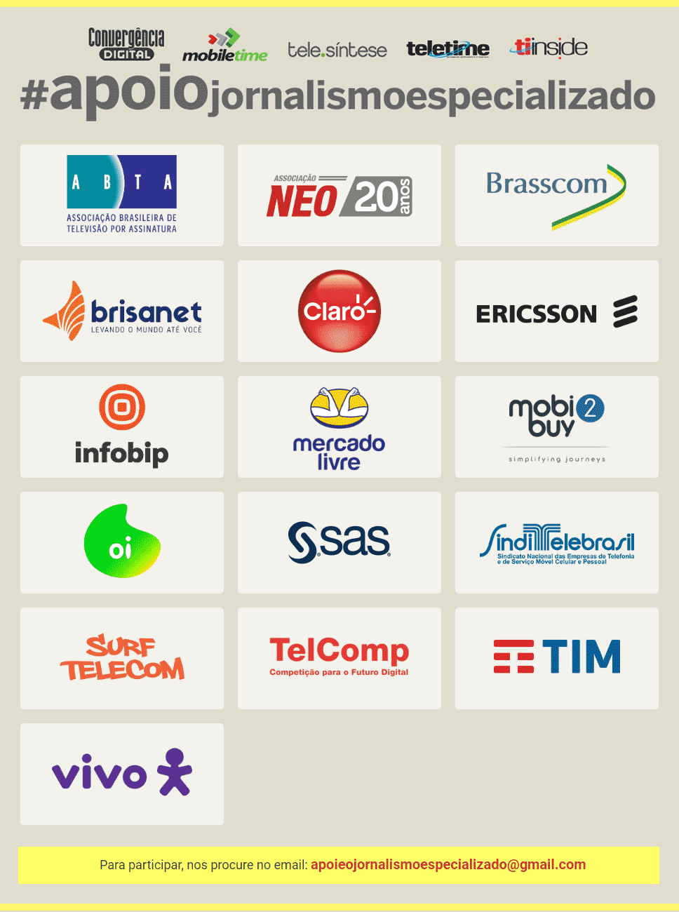 Apoio jornalismo especializado : Convergência Digital - Mobile Time - Tele.Síntese - Teletime - TI Inside