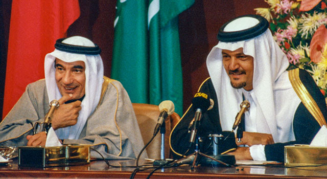 [Left] H.E. Abdulla Y. Bishara and [Right] HRH Prince Saud Al Faisal, Saudi Arabia's long-serving Minister of Foreign Affairs (1975 to 2015), at the 8th GCC Summit in Riyadh, Saudi Arabia. Photo: Dr. John Duke Anthony, 1987.