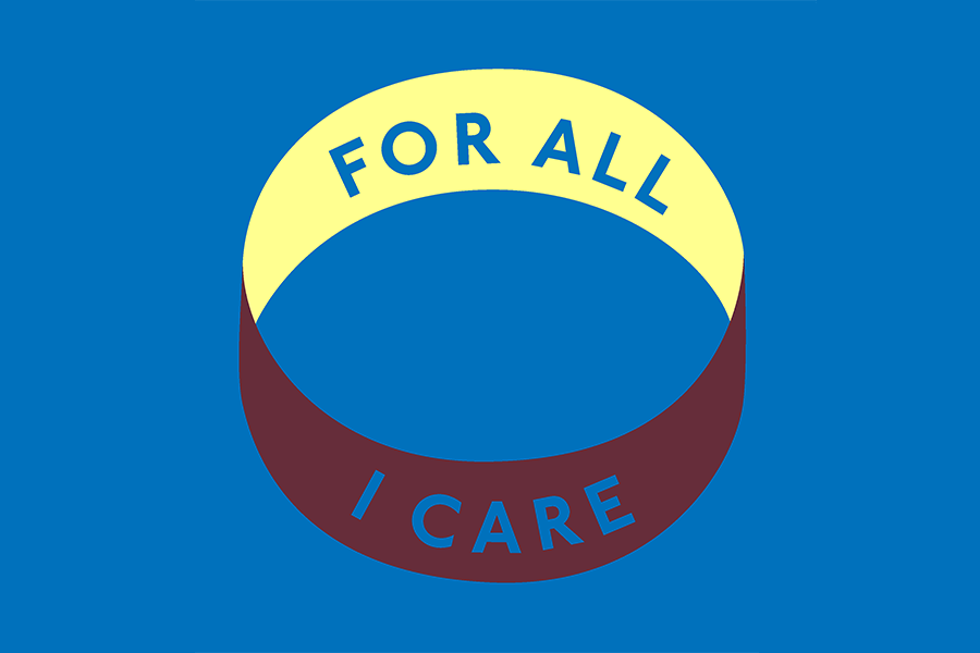 A band with 'For All I Care' imprinted on both sides of the band. The band is a two tone yellow and brown visible in a blue background.