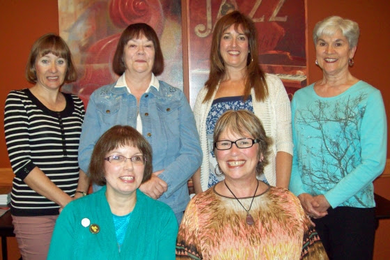 The Bluewater Readings Series' September 12th event spotlighted four out-of-town and two local writers: (back row) Elizabeth McCallister, Becky Alexander, Barb Day, and Kathy Robertson plus (front row) Debbie Okun Hill and Phyllis Humby.