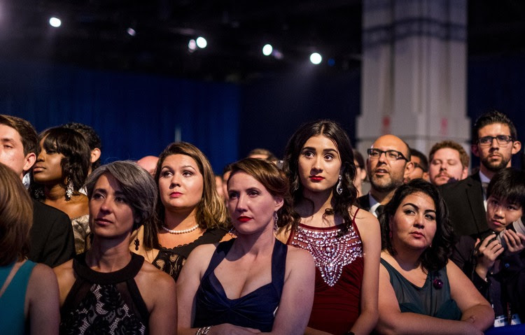 The crowd watches Clinton speak in September at the Congressional Hispanic Caucus Institute's annual gala in Washington. (Melina Mara/The Washington Post)</p>
