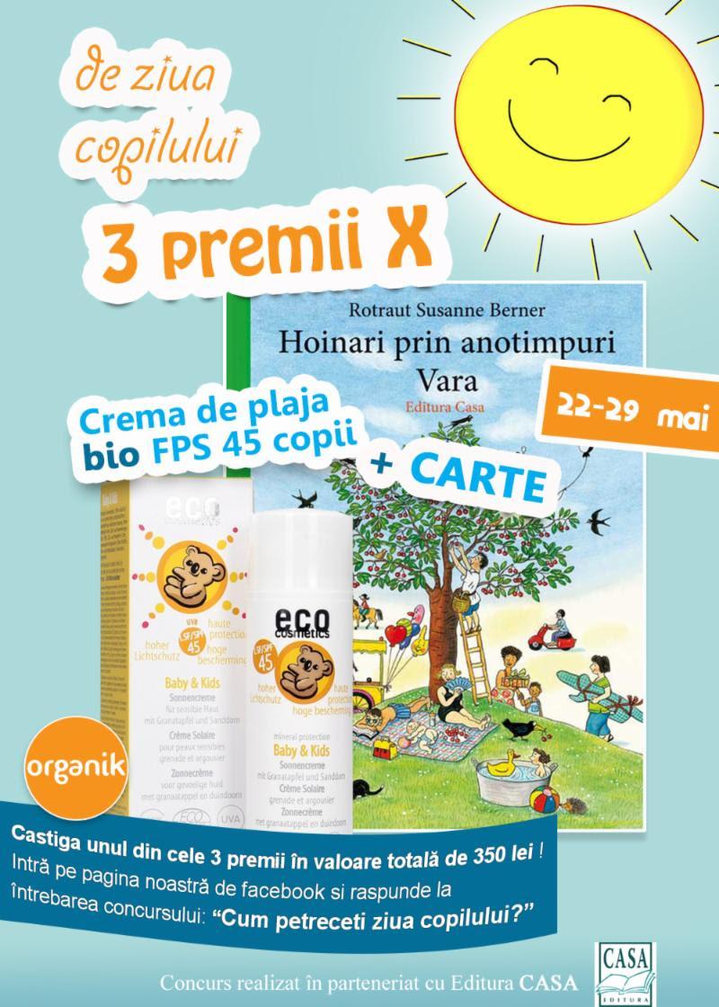 Concurs cu premii produse de protecție solară pentru copii plus o carte formidabilă !