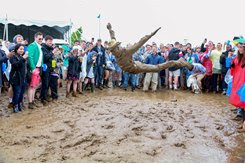 INFIELD HIJINKS: An inexplicable decision is witnessed with great amusement in the Preakness Day infield at Pimlico Race Course