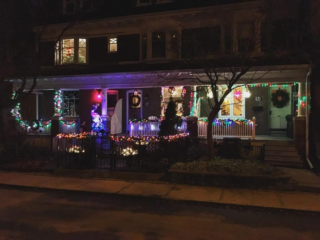 Row of Aberdeen Avenue houses with lights