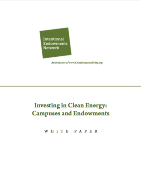 Investing in Clean Energy: Campuses and Endowments Cover Page