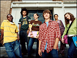 The figure above is a photograph showing a group of adolescents.